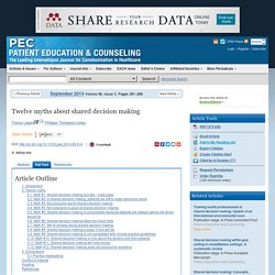 Twelve myths about shared decision making - Patient Education and Counseling