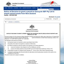 Notice of Decision to grant a permit to Geocycle SBF Pty Ltd to import solvent waste from New Zealand