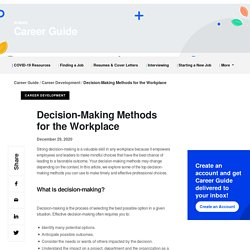 Decision-Making Methods for the Workplace
