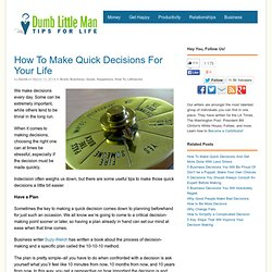 How To Make Quick Decisions For Your Life