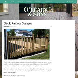 Deck Railing Designs – Oleary and Sons