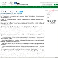 DECLARACIÓN ANUAL DE LAS PERSONAS FÍSICAS