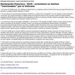 """Declaración Francisco - Kirill: ucranianos se sienten """"traicionados"""" por el Vaticano"""