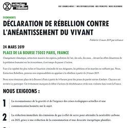 Déclaration de rébellion contre l'anéantissement du vivant