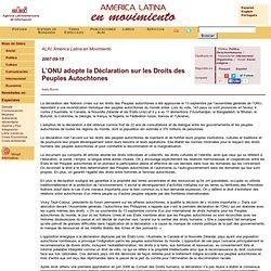 L'ONU adopte la Déclaration sur les Droits des Peuples Autochtones