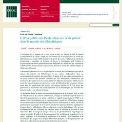 L'IFLA publie une Déclaration sur la vie privée dans le monde des bibliothèques