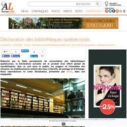 Déclaration des bibliothèques québécoises