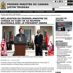 Déclaration du premier ministre du Canada au sujet de sa réunion bilatérale avec le président Obama