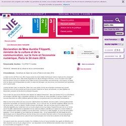 Déclaration de Mme Aurélie Filippetti, ministre de la culture et de la communication, sur le livre et l'économie numérique, Paris le 24 mars 2014. - vie-publique.fr