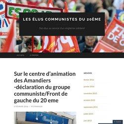 Déclaration du groupe communiste/Front de gauche du 20 eme
