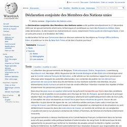 Déclaration conjointe des Membres des Nations unies