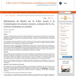 Déclaration de Berlin sur le Libre Accès à la Connaissance en sciences exactes, sciences de la vie, sciences humaines et sociales