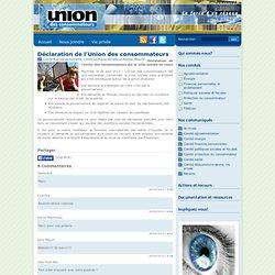 Déclaration de l'Union des consommateurs - Union des consommateurs