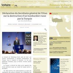 Déclaration du Secrétaire général de l'Otan sur la destruction d'un bombardier russe par la Turquie, par Jens Stoltenberg