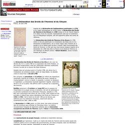 La Déclaration des Droits de l'Homme et du Citoyen - France, 26 août 1789