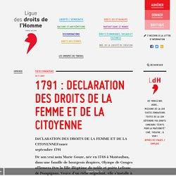1791 : DECLARATION DES DROITS DE LA FEMME ET DE LA CITOYENNE Olympe de Gouges