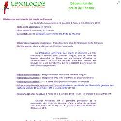 Déclaration des droits de l'homme : tous les textes en ligne LEXILOGOS