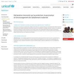 Déclaration Innocenti sur la protection, la promotion et l'encouragement de l'allaitement maternel
