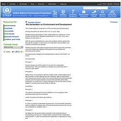 Rio Declaration - Rio Declaration on Environment and Development - United Nations Environment Programme (UNEP)