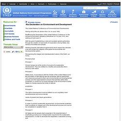 Rio Declaration - Rio Declaration on Environment and Development