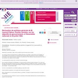 Déclaration de politique générale de M. Laurent Fabius, Premier ministre, sur les objectifs du gouvernement, à l'Assemblée nationale le 24 juillet 1984. - vie-publique.fr