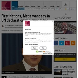 First Nations, Metis want say in UN declaration implementation