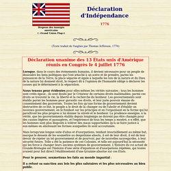 La déclaration d'indépendance des États-Unis du 4 juillet 1776