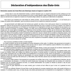 Déclaration d'indépendance des Etats Unis 1776