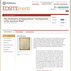 "The Declaration of Independence: ""An Expression of the American Mind"""