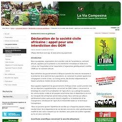 Déclaration de la société civile africaine : appel pour une interdiction des OGM