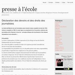 Déclaration des devoirs et des droits des journalistes