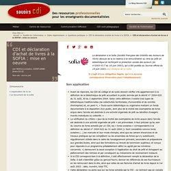 CDI et déclaration d'achat de livres à la SOFIA : mise en oeuvre