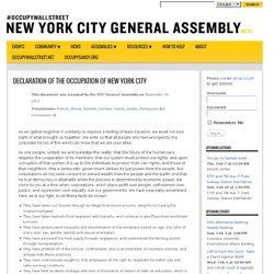 Declaration of the Occupation of New York City | NYC General Assembly