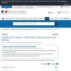 Impôt sur le revenu: déclaration des pensions de retraite