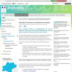 Déclaration d'activité d'un prestataire de formation - Direccte Occitanie