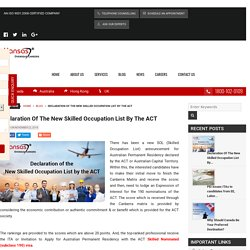 Declaration Of The New Skilled Occupation List By The ACT