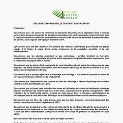 DÉCLARATION UNIVERSELLE DES DROITS DES PLANTES