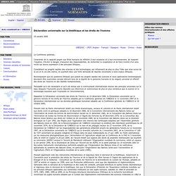 Déclaration universelle sur la bioéthique et les droits de l'homme: UNESCO