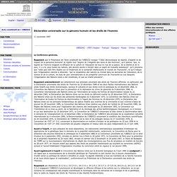 Déclaration universelle sur le génome humain et les droits de l'homme: UNESCO