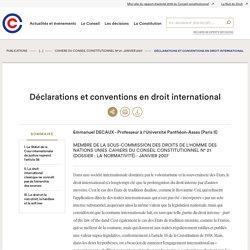 Déclarations et conventions en droit international