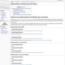 Déclarations Intérets des Ministres - Wiki NosDonnées.