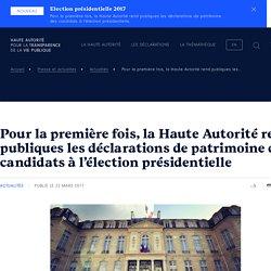 Pour la première fois, la Haute Autorité rend publiques les déclarations de patrimoine des candidats à l'élection présidentielle « Haute Autorité pour la transparence de la vie publique