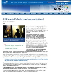 LHR wants Fiela declared unconstitutional:Tuesday 23 June 2015