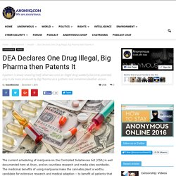 DEA Declares One Drug Illegal, Big Pharma then Patents It