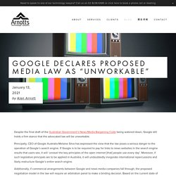 "Google declares proposed media law as ""unworkable"" — Arnotts Technology Lawyers"
