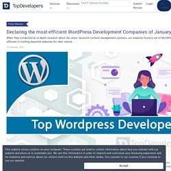 Most efficient WordPress Development Companies of January 2021 listed by TopDevelopers.co