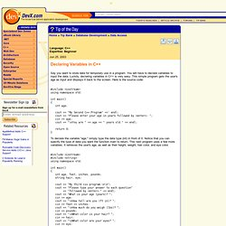 Declaring Variables in C++