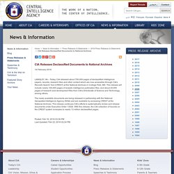 CIA Releases Declassified Documents to National Archives