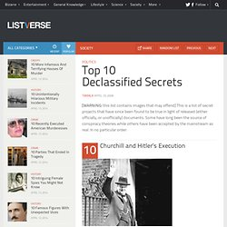 Top 10 Declassified Secrets - Top 10 Lists