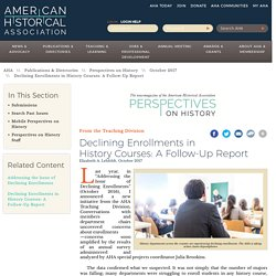 Declining Enrollments in History Courses: A Follow-Up Report